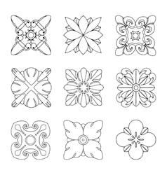 Set of square rosette elements vector