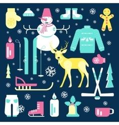 Set of unique winter icons vector