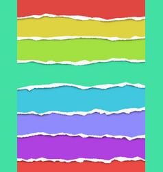 seven oblong torn paper wisps different colors vector image