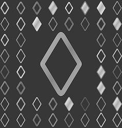 Silver line rhombus icon design set vector