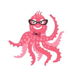smart cartoon pink octopus character wearing vector image vector image