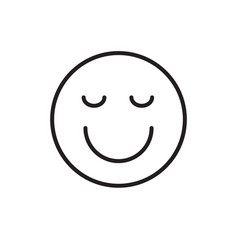 Smiling cartoon face closed eyes positive people vector