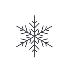 snowflake decor line icon concept snowflake decor vector image