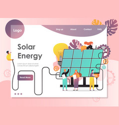 Solar energy website landing page design vector
