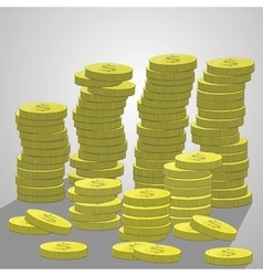 Stacks of coins a lot dollars vector