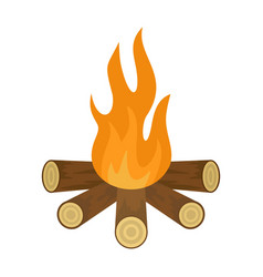 Star camp fire icon flat style vector