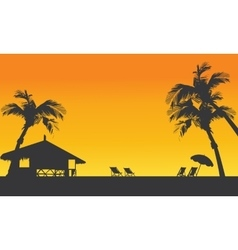 Sunset summer silhouette with hut vector