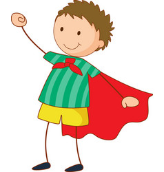 Super hero girl cartoon character in hand drawn vector