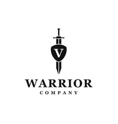 Sword shield logo design vector