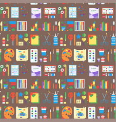 themed kids creativity creation seamless pattern vector image