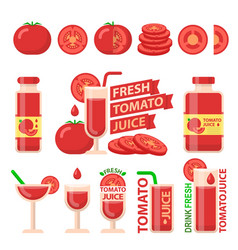 Tomato and fresh juice flat elements vector