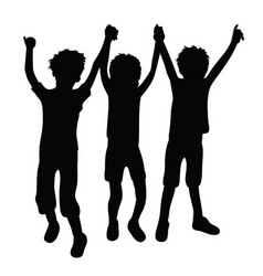 trio happy kid silhouettes vector image