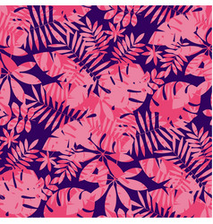 Tropical leaves in rose coral and deep blue colors vector