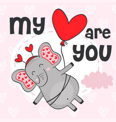 Valentine elephant flies on balloon vector