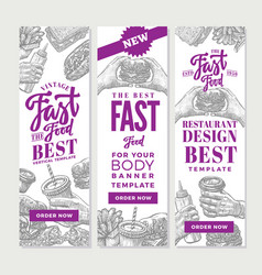 Vintage fast food vertical banners vector