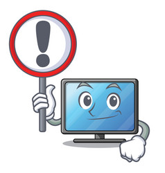 with sign lcd tv cartoon in living room vector image