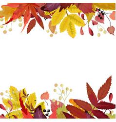 Autumn season floral watercolor style card vector