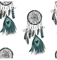 hand drawn ethnic dreamcatcher seamless pattern vector image