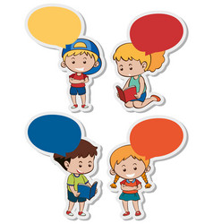 sticker template with boys and girls vector image
