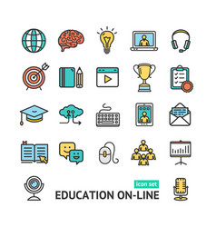 symbol of education online color thin line icon vector image