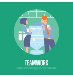 Teamwork banner with business people vector image