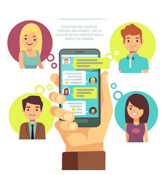 hand holding smartphone with online chat with vector image