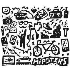 hipsters things - doodles set vector image