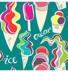 Juicy ice cream cones pattern vector image
