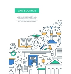 Law and Justice - line design brochure poster vector image vector image