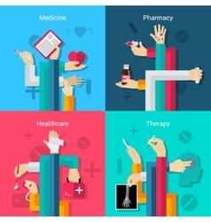 Medical hands flat set vector image