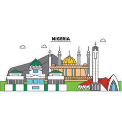 nigeria outline city skyline linear vector image vector image
