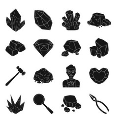 precious minerals and jeweler set icons in black vector image vector image