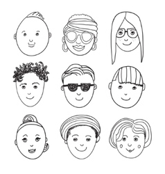set of hand drawn people faces vector image vector image