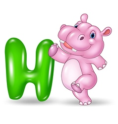 Cartoon of H letter for Hippo vector image