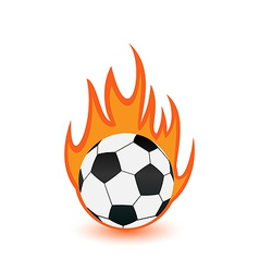 Football balls in orange fire flames vector image