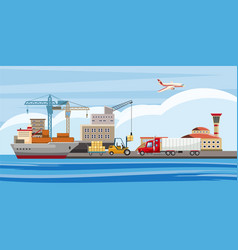 logistic horizontal banner cartoon style vector image vector image