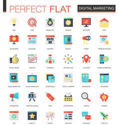 Set of flat digital marketing icons vector