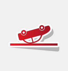 crashed car sign new year reddish icon vector image vector image