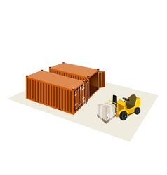 Forklift Truck Loading A Shipping Box vector image vector image