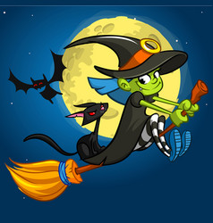 halloween with cute witch flying on her broom on vector image