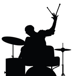 man playing drumms silhouette in black color vector image