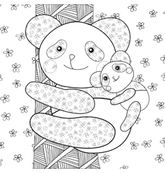 Panda kid coloring book page vector image
