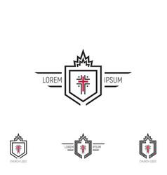 set church logo shield with a cross vector image