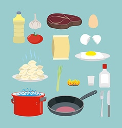 Set of kitchen utensils and food Pan and casserole vector image