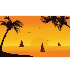 Silhouette of ship in seaside summer vector image vector image