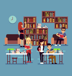 studying students in library interior with books vector image