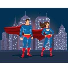 Superheroes on urban landscape backgound vector image vector image