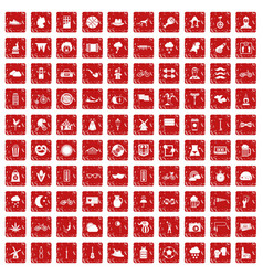 100 bicycle icons set grunge red vector
