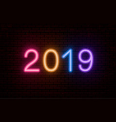 2019 multicolored neon numbers vector image