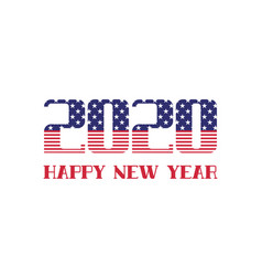 2020 happy new year greeting card with usa vector